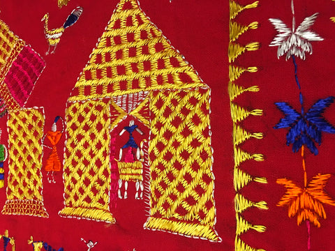 Rare Devotional Phulkari, Darshan Dwār (Lit. Door to the Divine) handcrafted by Virsā Artisan