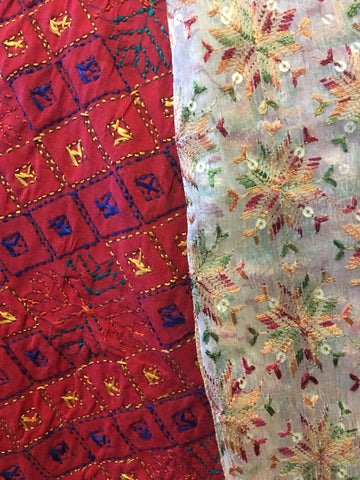 Unfinished Back-side of the Real Authentic Handcrafted Phulkari (LEFT) juxtaposed against the back-side of the fake Phulkari