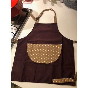 台灣師傅手工小小孩工作圍裙  Taiwanese tailor handmade adjustable working apron with printed cartoon pocket -咖啡小白點 - Gloria's Bookstore 灣區中文繪本童書專賣