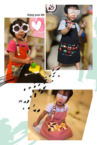 台灣手工兒童工作服  Handmade kid's adjustable working apron with printed cartoon pocket -粉色蝴蝶貓 (免運) - glorias-bookstore