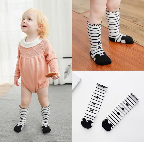 Mickey Mouse Stripes High Knee Socks