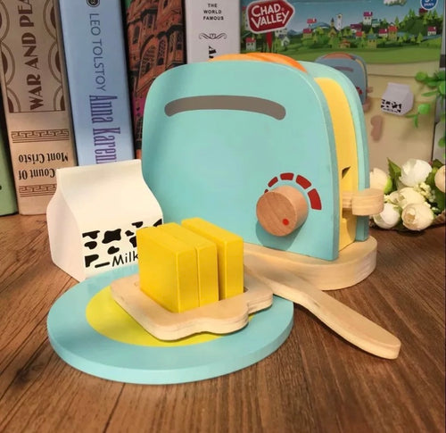 Wooden toaster playset