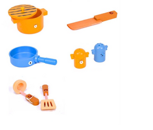 Compact Wooden Animal Kitchen Play Set