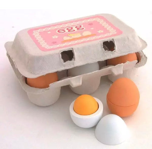 Wooden Half Dozen Eggs Carton