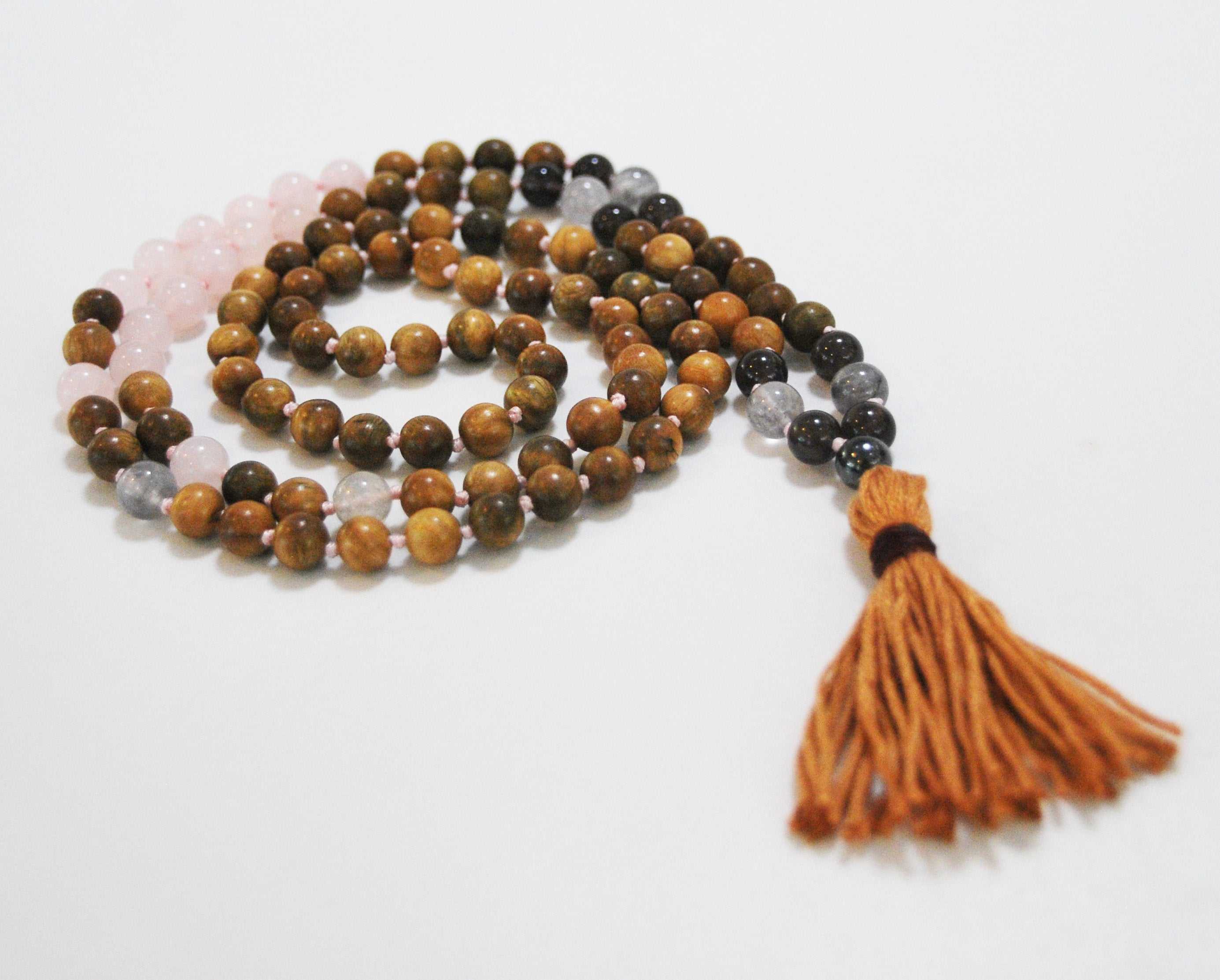 8mm Green Sandalwood & Rose Quartz 108 Knotted Mala Necklace with Cotton Tassel