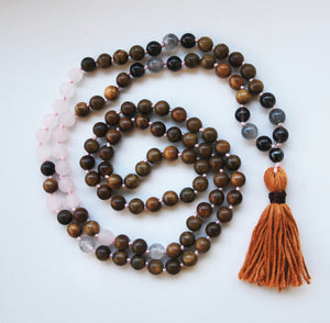 8mm Green Sandalwood & Matte Rose Quartz 108 Knotted Mala Necklace with Cotton Tassel
