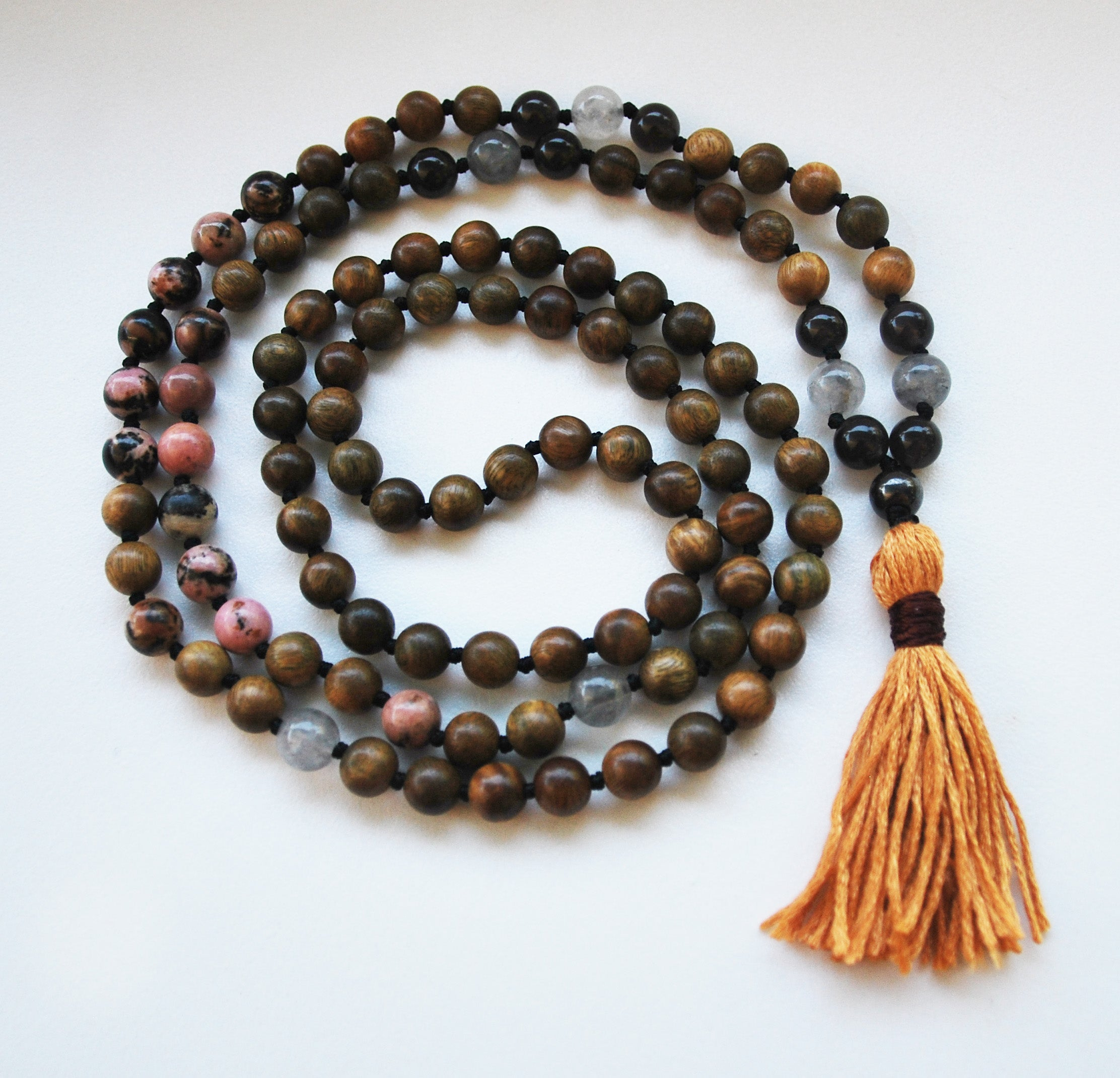 8mm Green Sandalwood & Rhodonite 108 Knotted Mala Necklace with Cotton Tassel