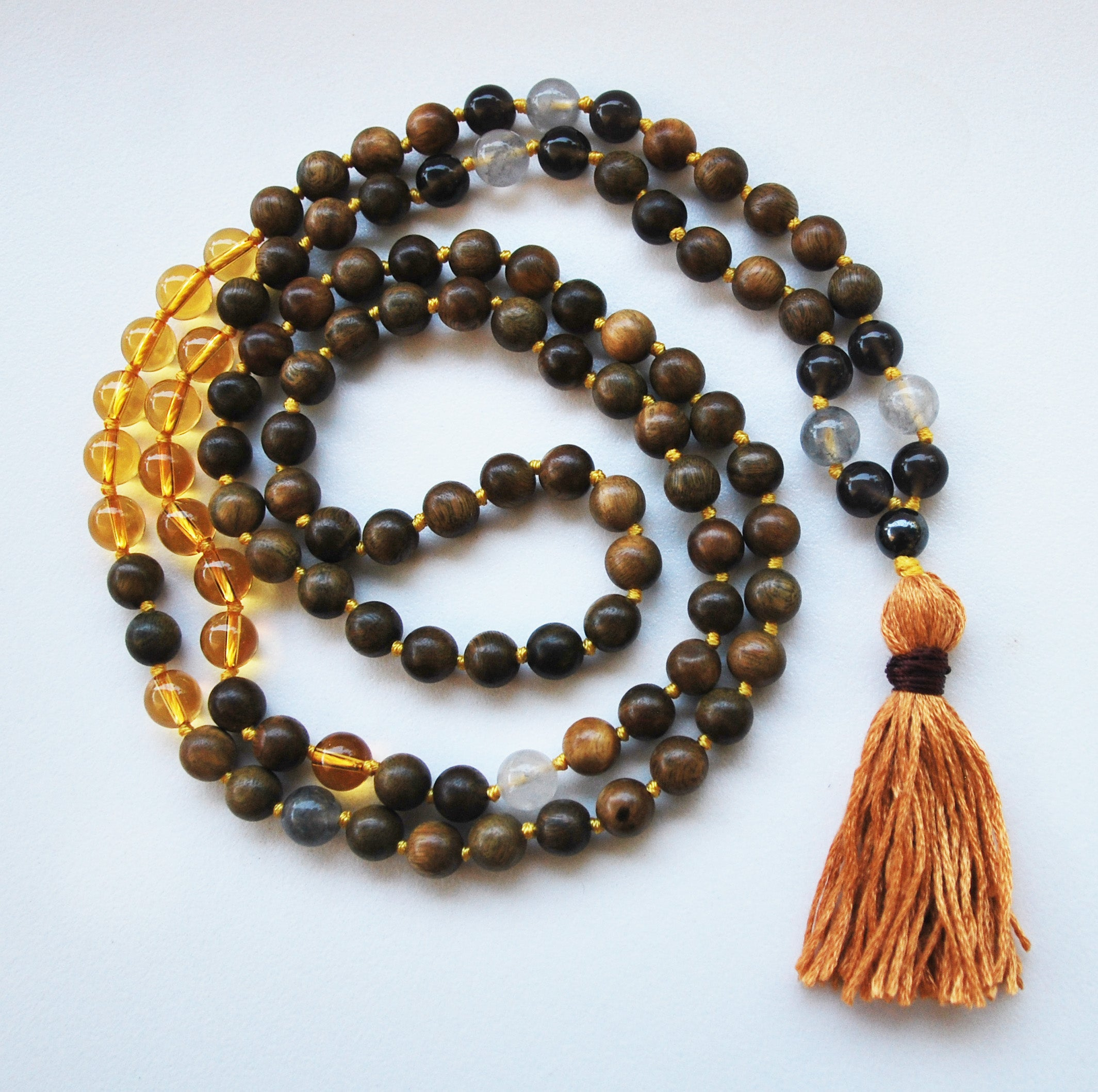 8mm Green Sandalwood & Citrine 108 Knotted Mala Necklace with Cotton Tassel