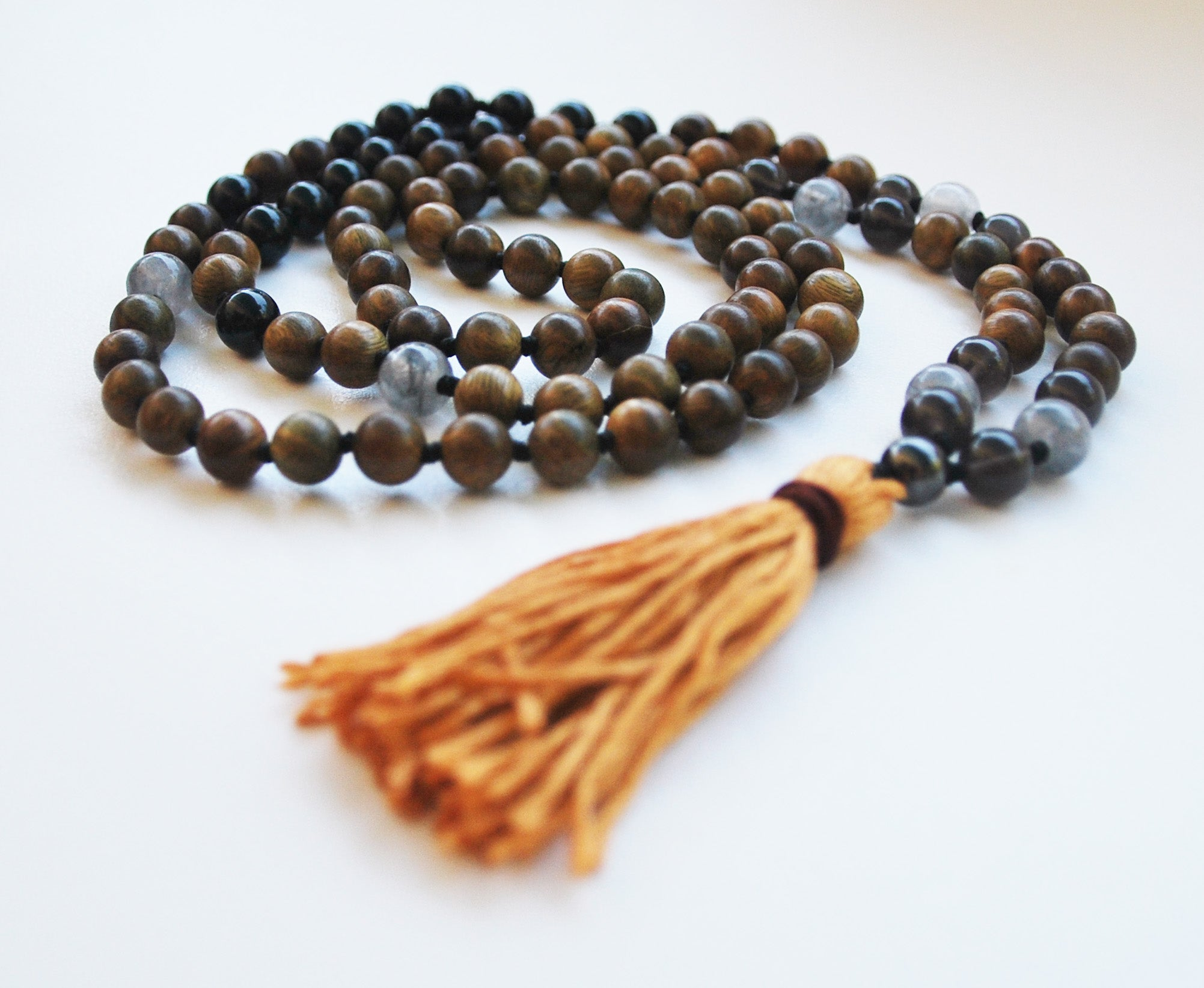 8mm Green Sandalwood & Obsidian 108 Knotted Mala Necklace with Cotton Tassel