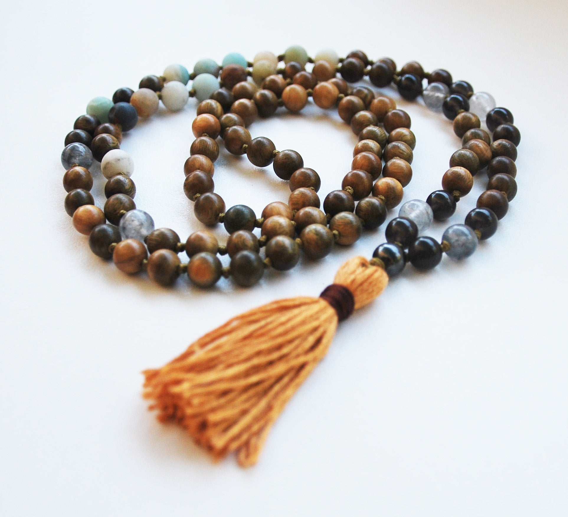 8mm Green Sandalwood & Amazonite 108 Knotted Mala Necklace with Cotton Tassel