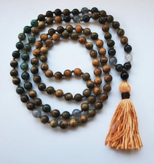8mm Green Sandalwood & Jade 108 Knotted Mala Necklace with Cotton Tassel