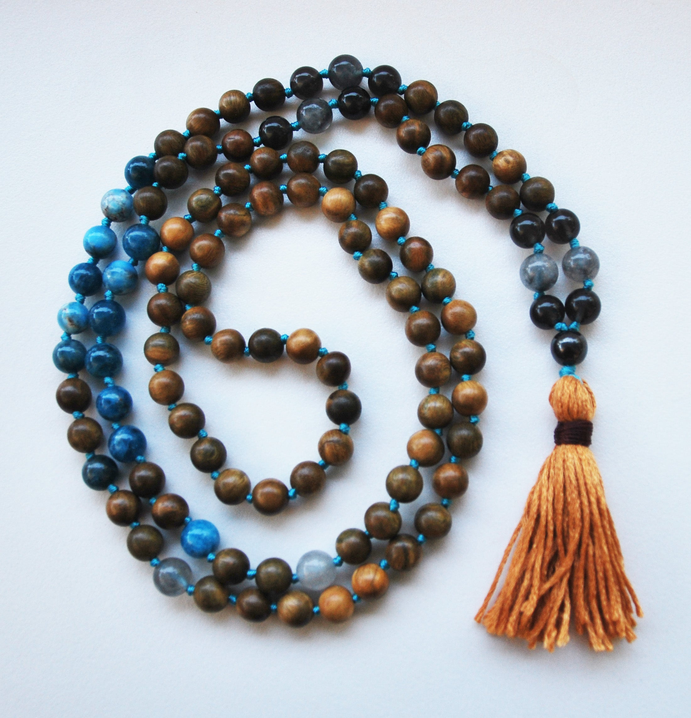 8mm Green Sandalwood & Apatite 108 Knotted Mala Necklace with Cotton Tassel