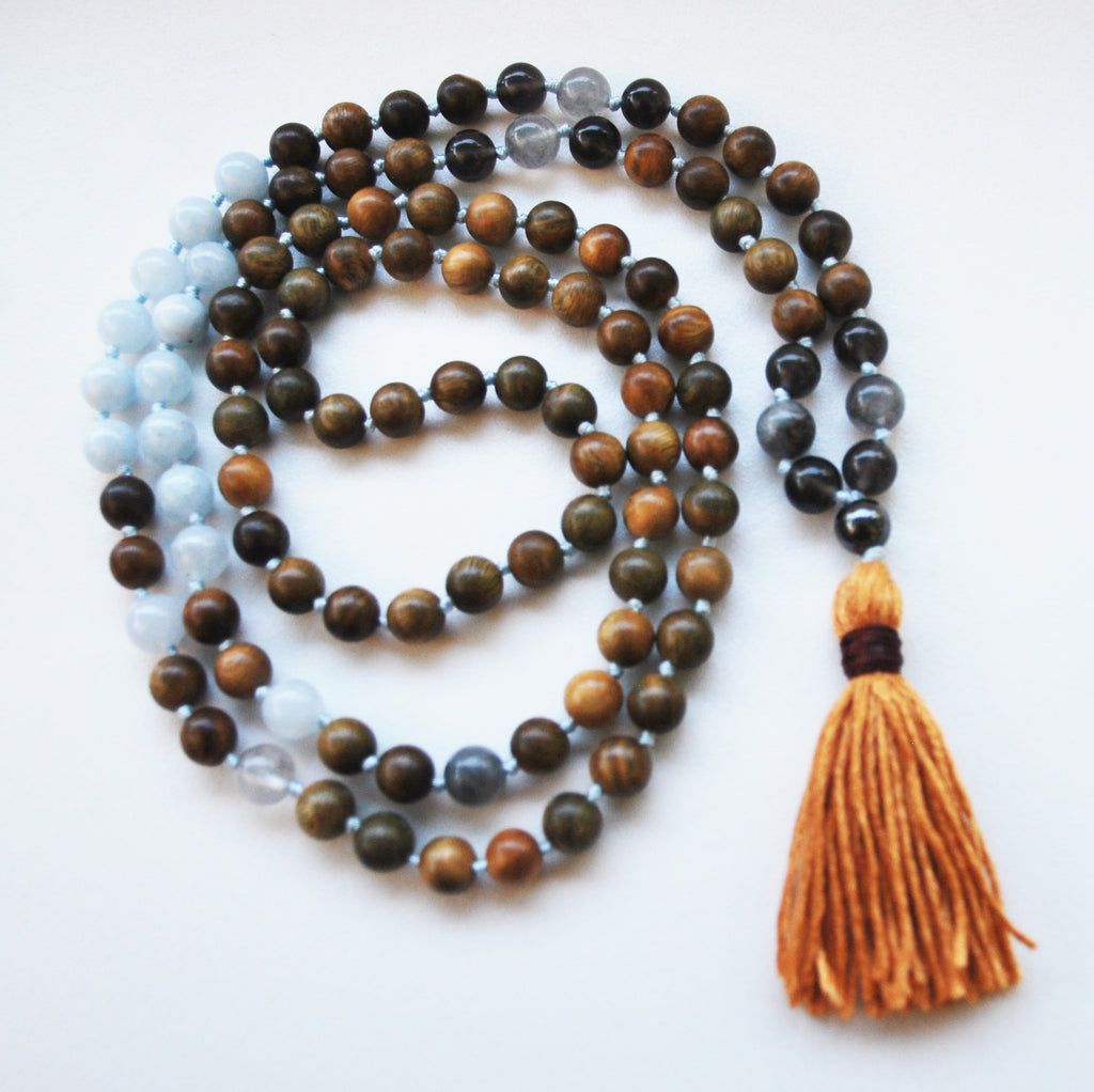 8mm Green Sandalwood & Aquamarine 108 Knotted Mala Necklace with Cotton Tassel