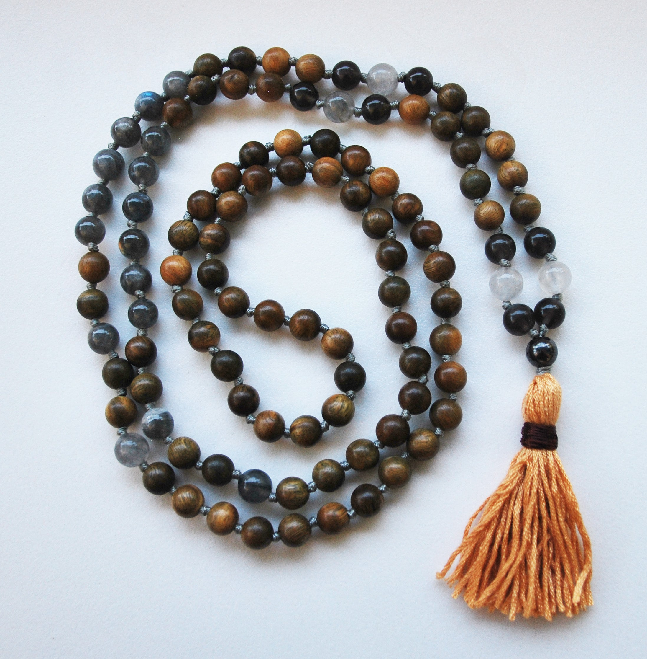 8mm Green Sandalwood & Labradorite 108 Knotted Mala Necklace with Cotton Tassel