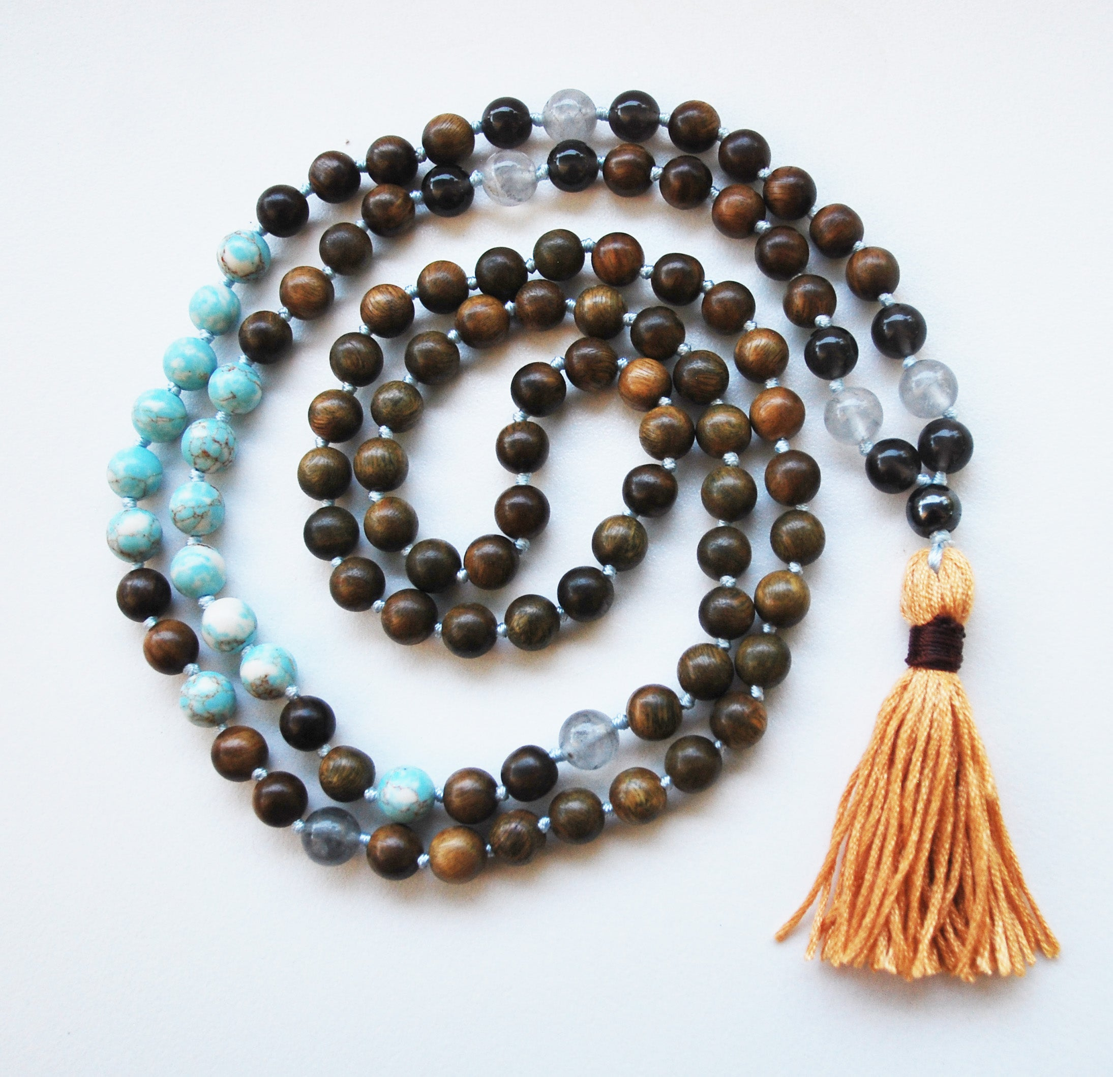 8mm Green Sandalwood & Blue Turquoise 108 Knotted Mala Necklace with Cotton Tassel