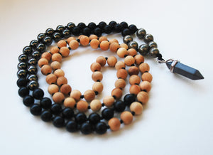 Cypress & Hematite 108 Knotted Mala Necklace with Cotton Tassel
