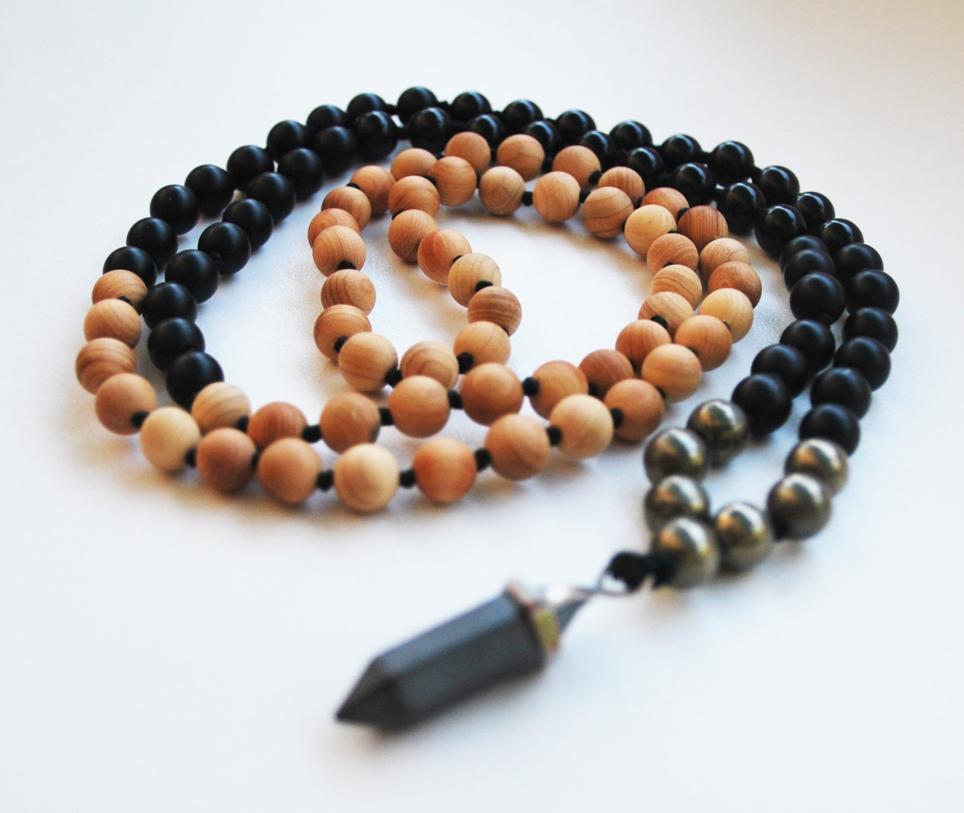 Cypress & Obsidian 108 Knotted Mala Necklace with Cotton Tassel