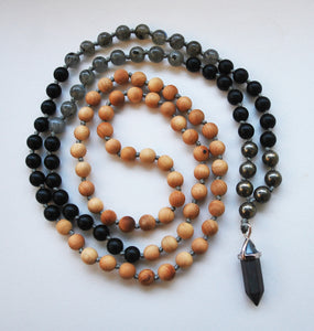Cypress & Labradorite 108 Knotted Mala Necklace with Cotton Tassel