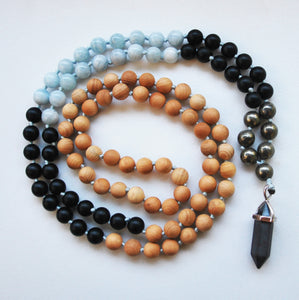 Cypress & Aquamarine 108 Knotted Mala Necklace with Cotton Tassel