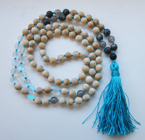 8mm Sandalwood & Austrian Quartz Crystal 108 Knotted Mala Necklace with Colored Tassel