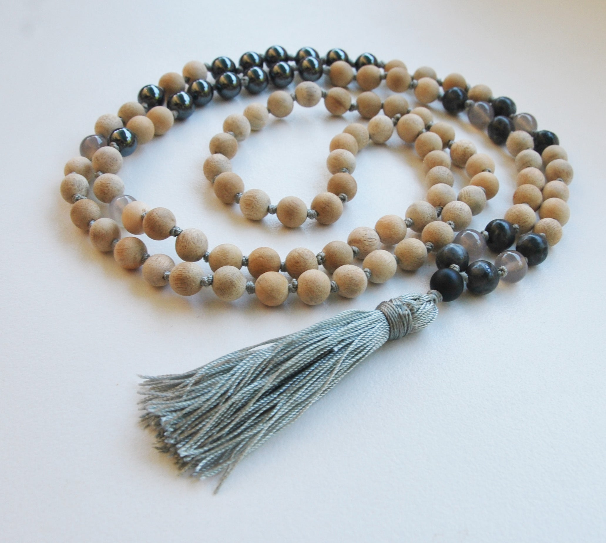 8mm Sandalwood & Hematite 108 Knotted Mala Necklace with Colored Tassel