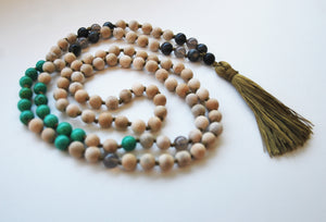 8mm Sandalwood & Turquoise 108 Knotted Mala Necklace with Colored Tassel