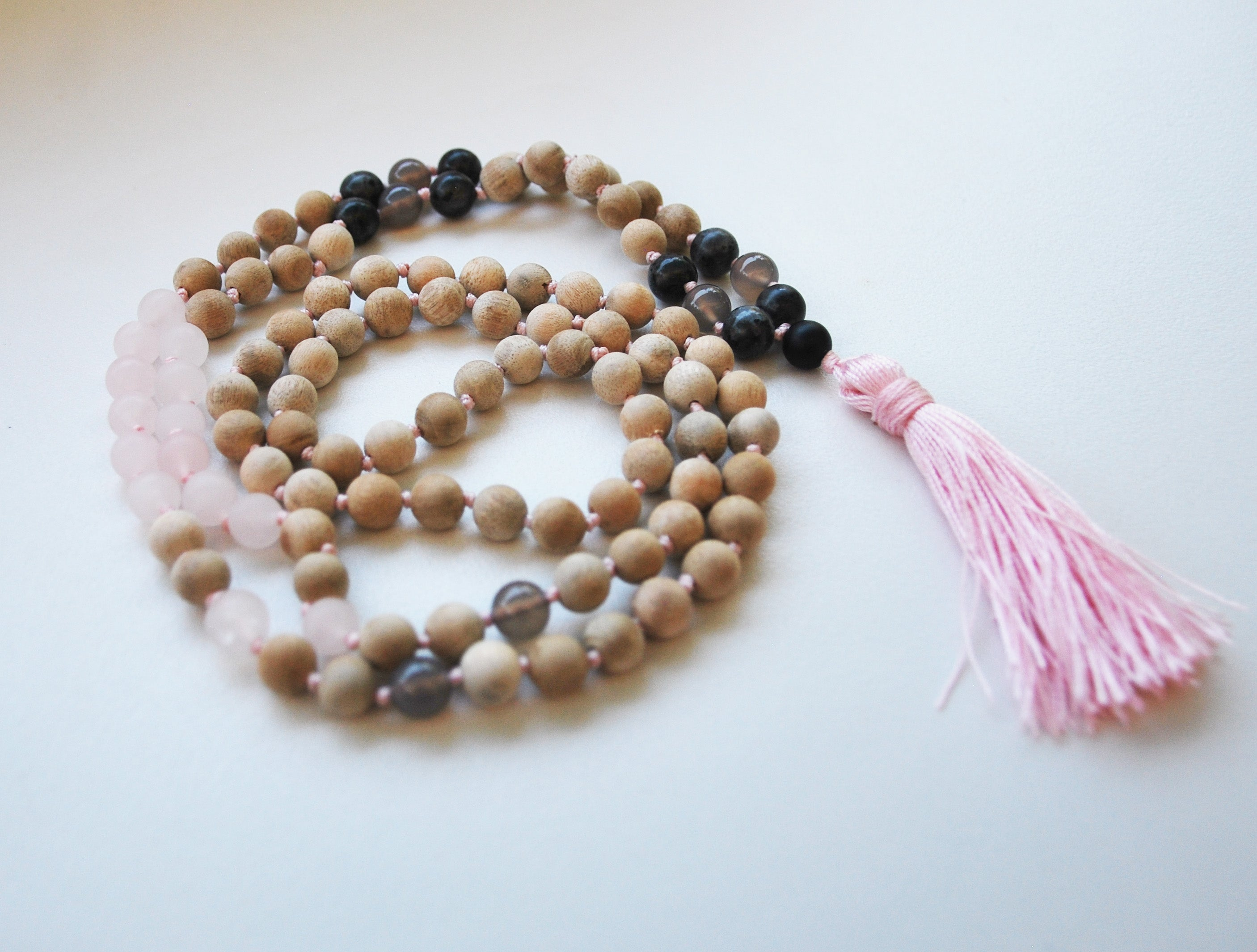 8mm Sandalwood & Rose Quartz  108 Knotted Mala Necklace with Colored Tassel
