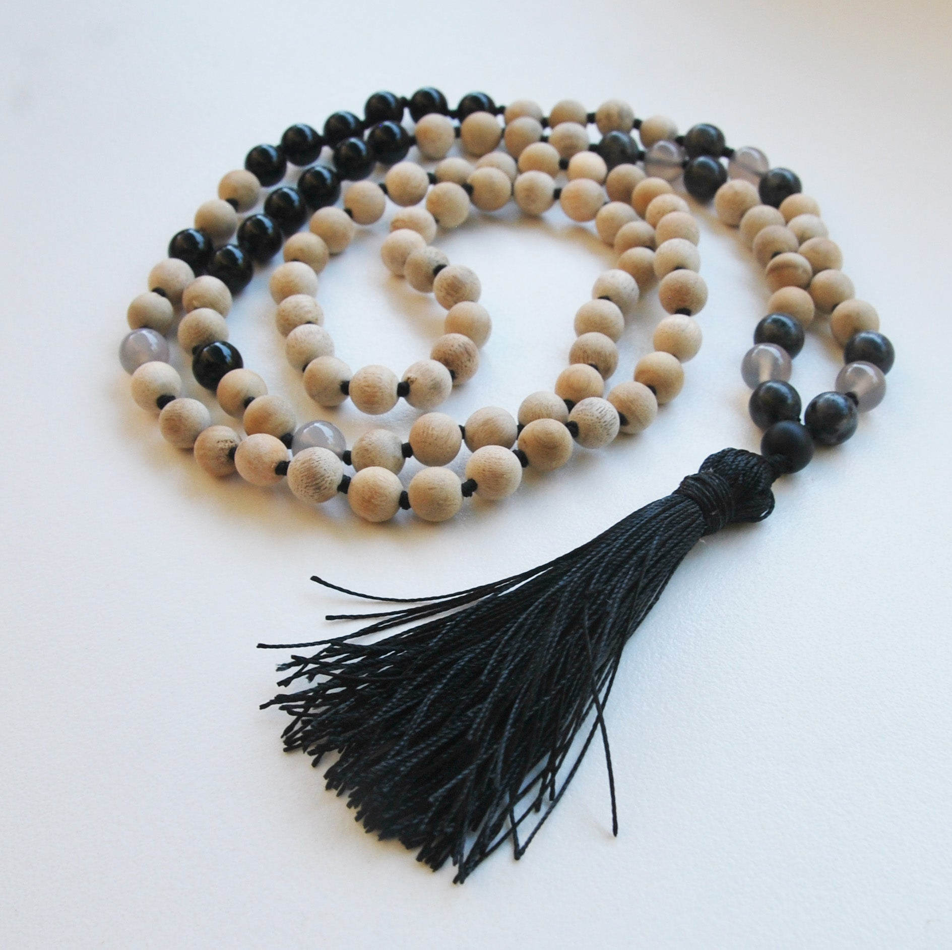 8mm Sandalwood & Obsidian 108 Knotted Mala Necklace with Colored Tassel