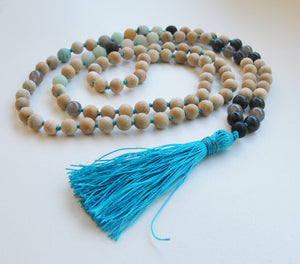 8mm Sandalwood & Amazonite 108 Knotted Mala Necklace with Colored Tassel