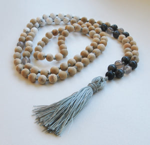 8mm Sandalwood & Howlite 108 Knotted Mala Necklace with Colored Tassel