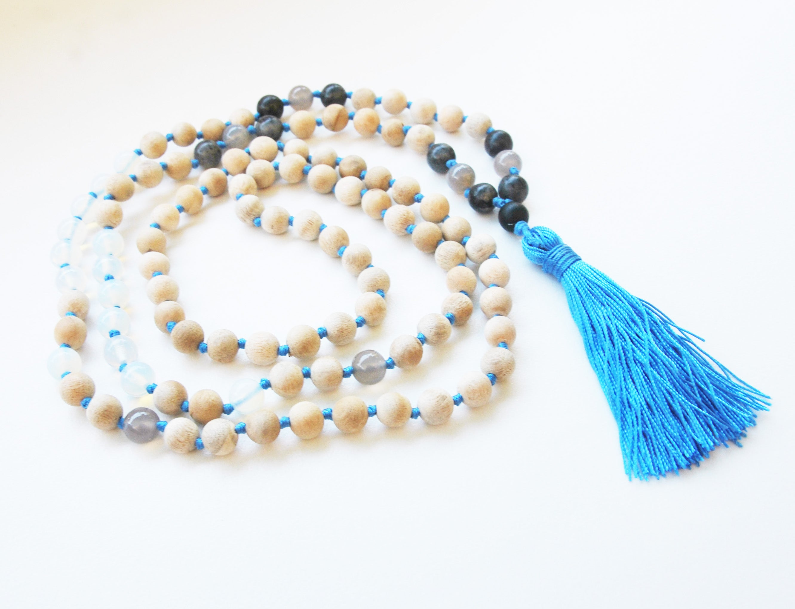 8mm Sandalwood & Opalite 108 Knotted Mala Necklace with Colored Tassel