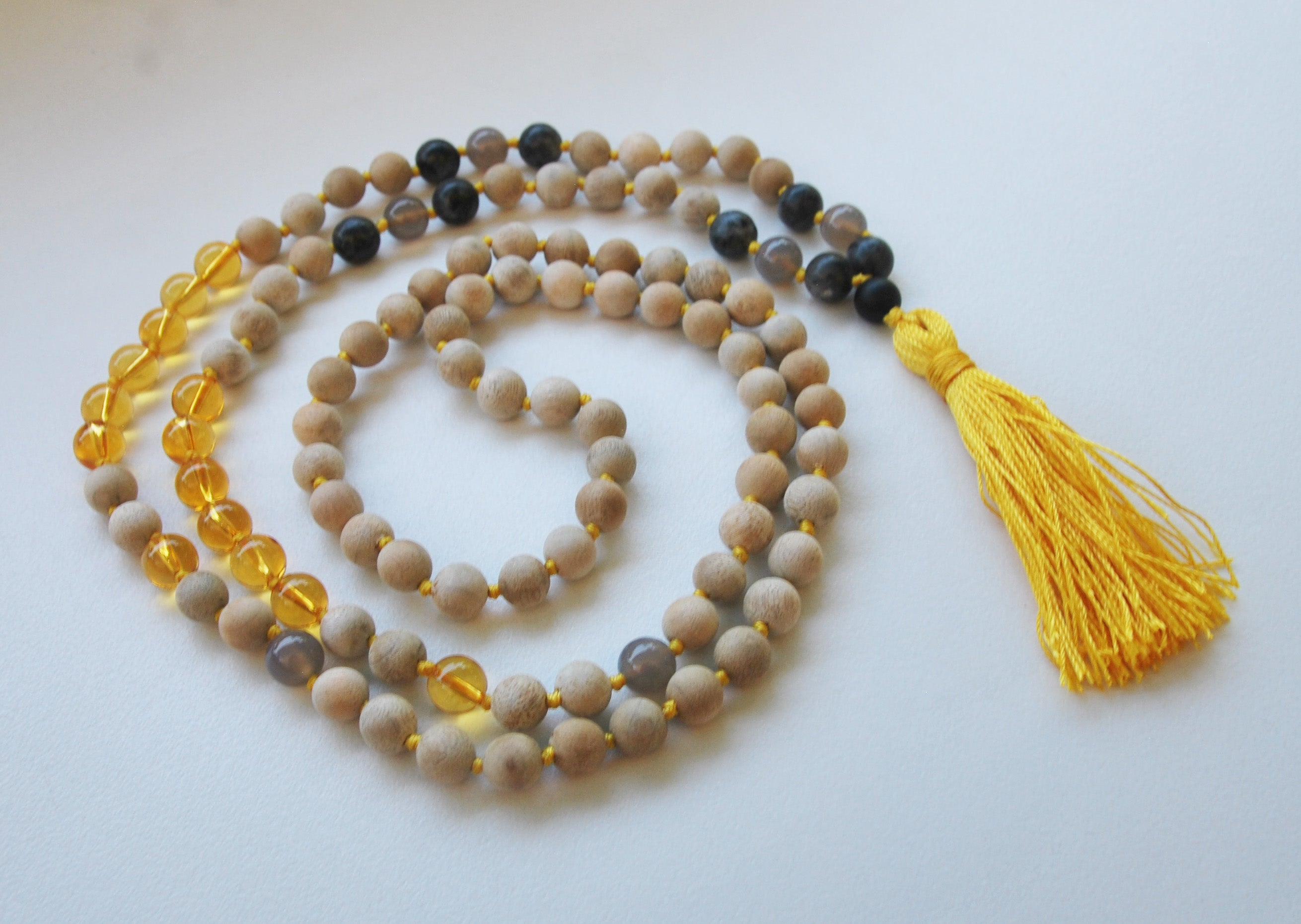8mm Sandalwood & Citrine 108 Knotted Mala Necklace with Colored Tassel