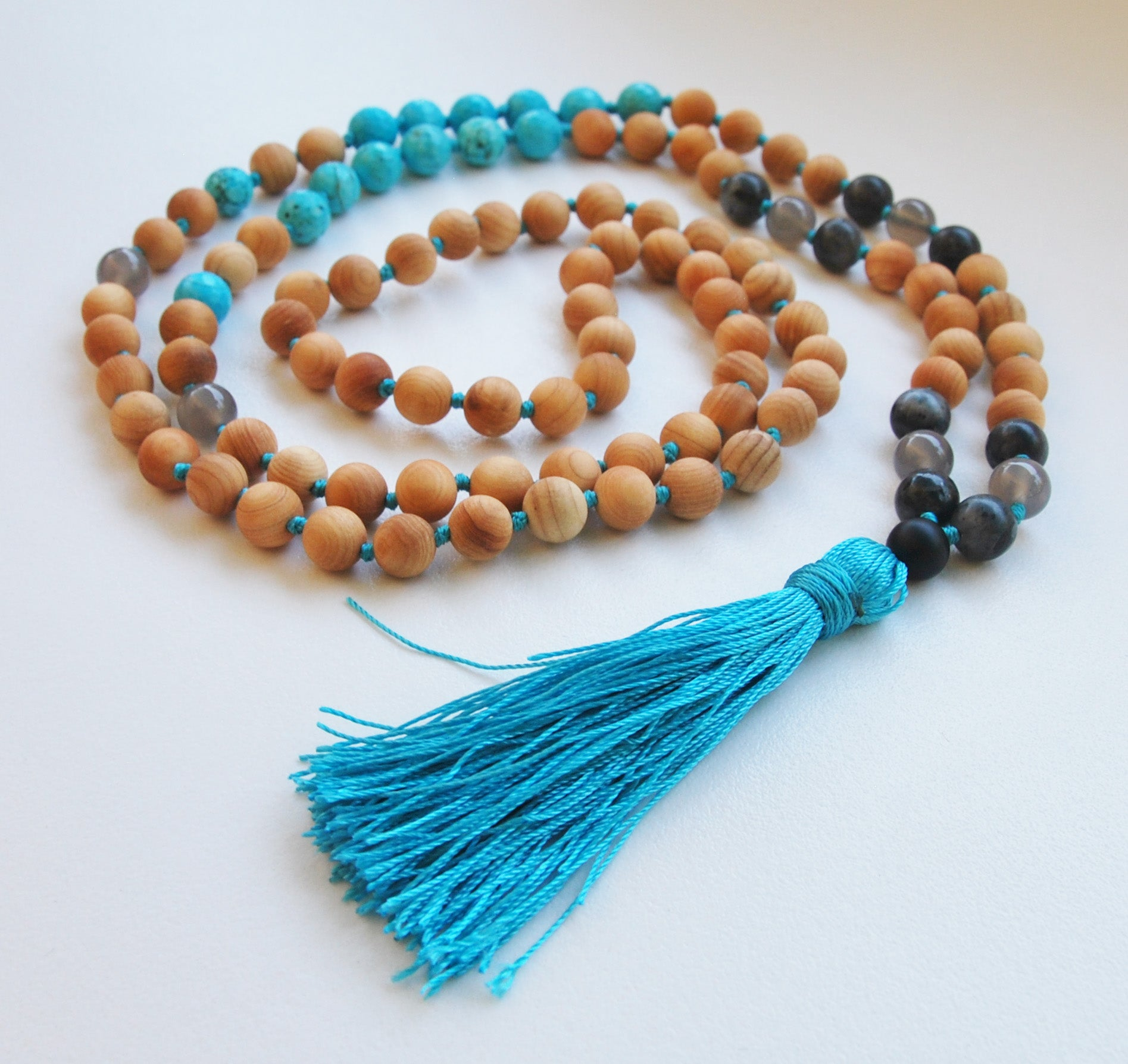 8mm Cypress & Faceted Turquoise 108 Knotted Mala Necklace with Colored Tassel