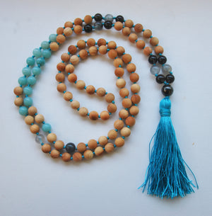 8mm Cypress & Amazonite 108 Knotted Mala Necklace with Colored Tassel