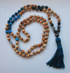 8mm Cypress & Apatite 108 Knotted Mala Necklace with Colored Tassel