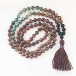 8mm Pear Wood & African Turquoise 108 Knotted Mala Necklace with Colored Tassel