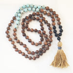 8mm Pear Wood & Blue Turquoise 108 Knotted Mala Necklace with Colored Tassel