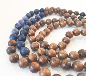 8mm Pear Wood & Matte Sodalite 108 Knotted Mala Necklace with Colored Tassel