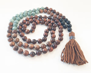8mm Pear Wood & Matte Jade 108 Knotted Mala Necklace with Colored Tassel