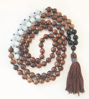 8mm Pear Wood & Matte Aquamarine 108 Knotted Mala Necklace with Colored Tassel