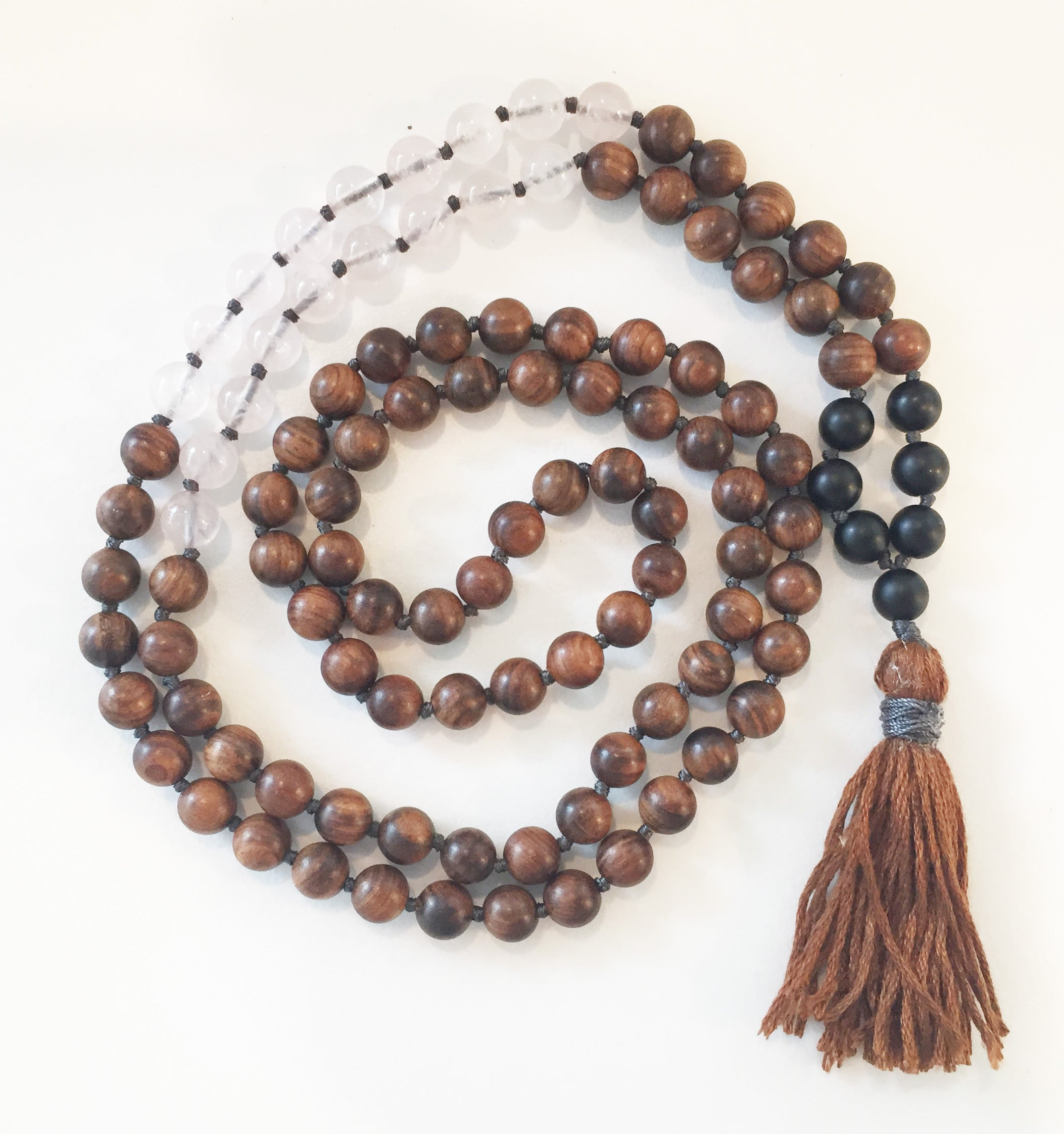 8mm Pear Wood & Rose Quartz 108 Knotted Mala Necklace with Colored Tassel