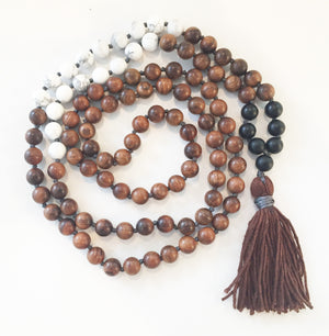 8mm Pear Wood & Howlite 108 Knotted Mala Necklace with Colored Tassel