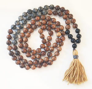 8mm Pear Wood & Matte Larkavite 108 Knotted Mala Necklace with Colored Tassel