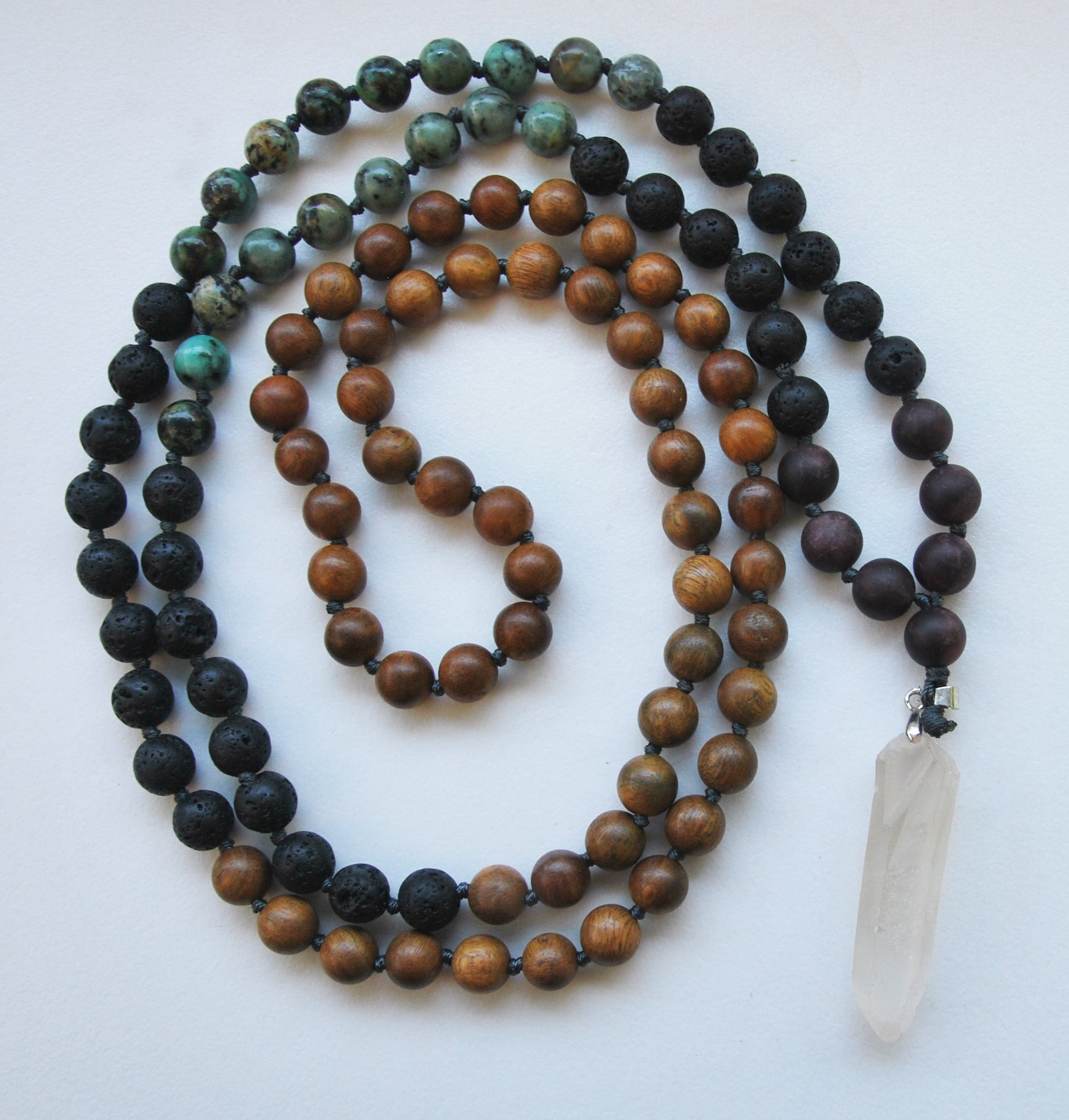 8mm Green Sandalwood & African Turquoise 108 Knotted Mala Necklace with Crystal Pendant