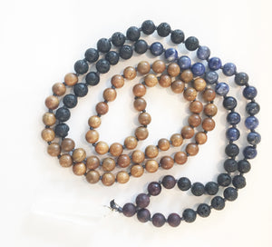 8mm Green Sandalwood & Sodalite 108 Knotted Mala Necklace with Crystal Pendant
