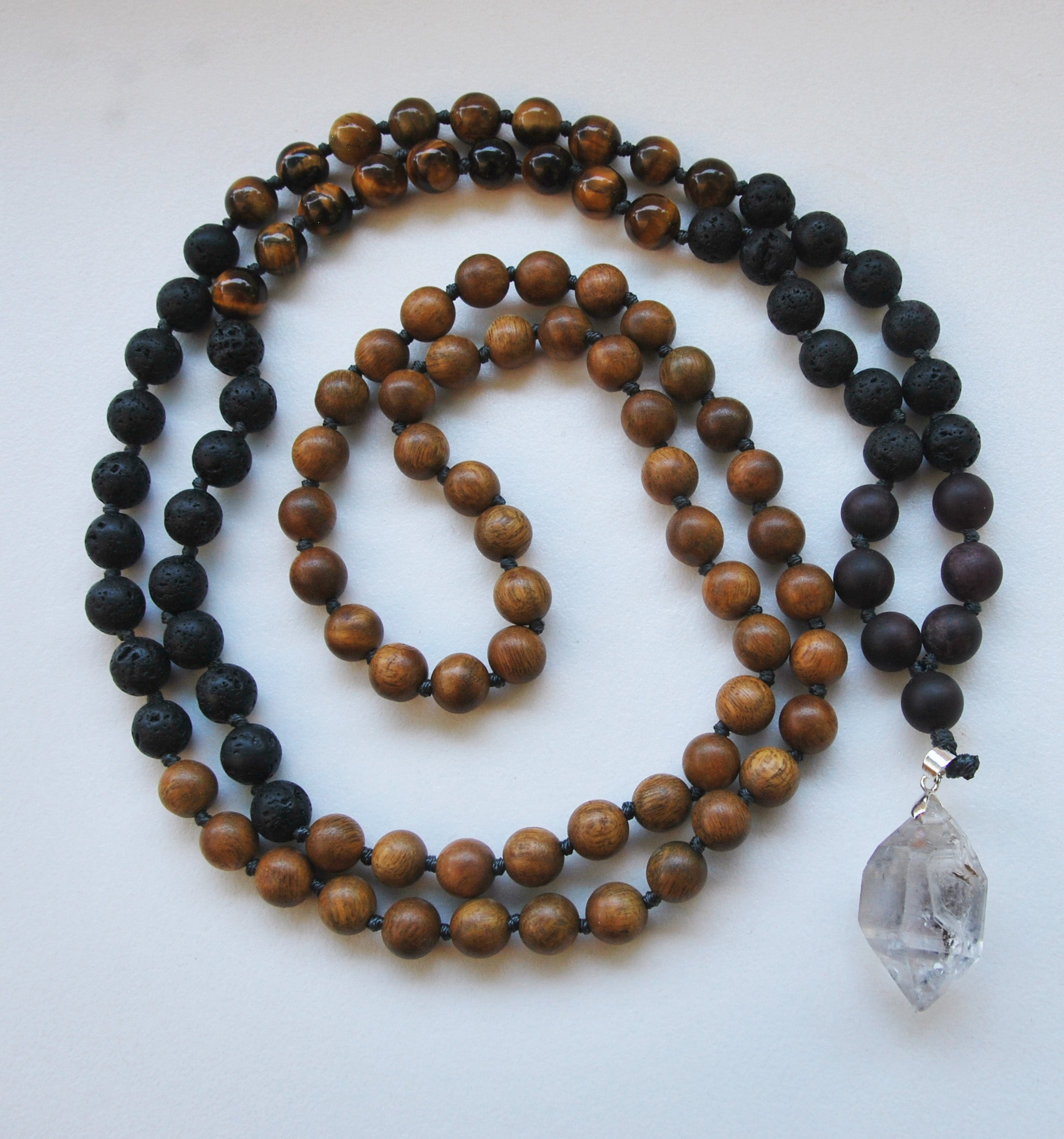 8mm Green Sandalwood & Tigers Eye 108 Knotted Mala Necklace with Crystal Pendant