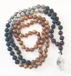 8mm Green Sandalwood & Zebra Jasper 108 Knotted Mala Necklace with Crystal Pendant