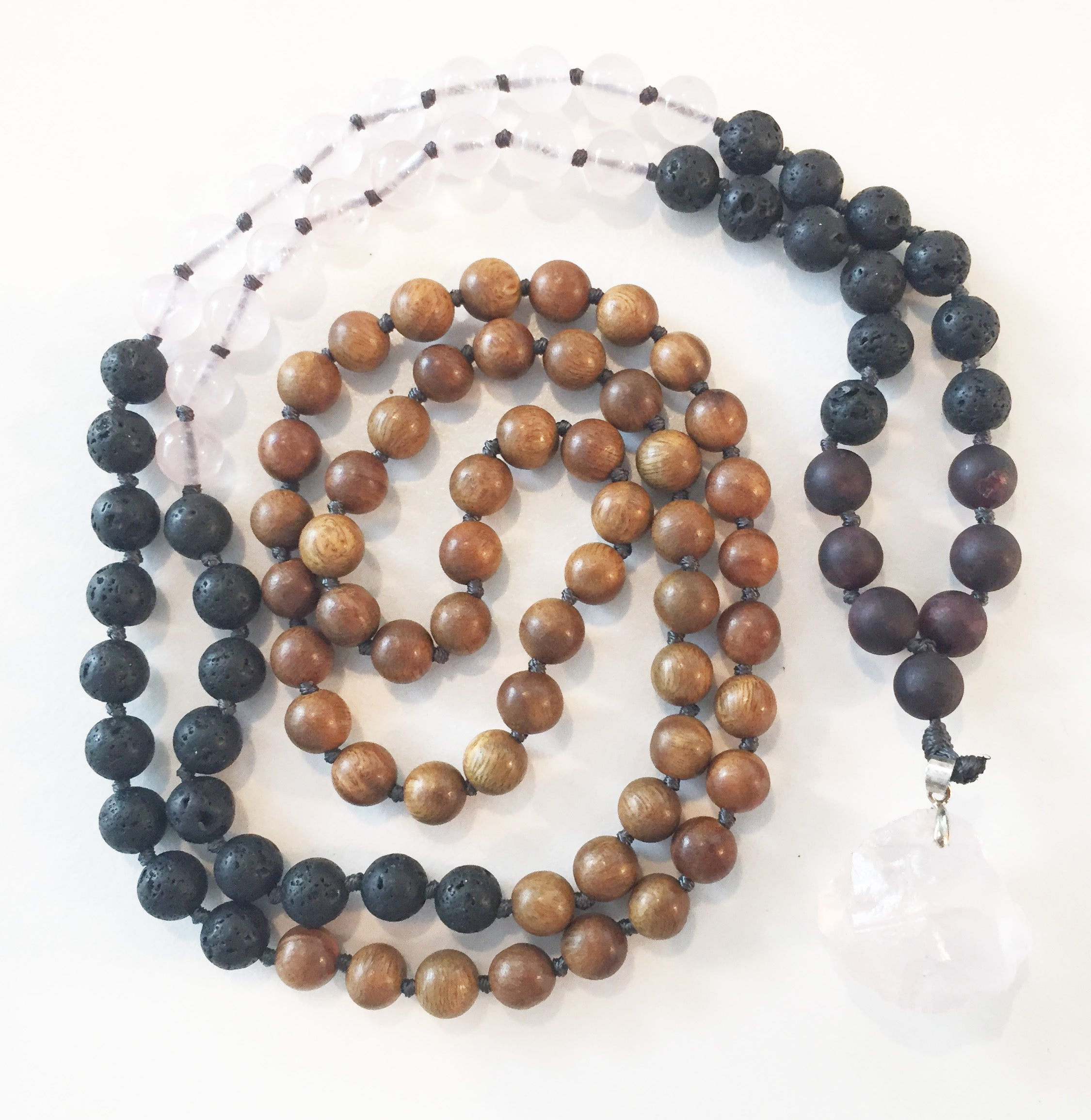 8mm Green Sandalwood & Rose Quartz 108 Knotted Mala Necklace with Crystal Pendant
