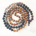 8mm Green Sandalwood & Grey Sunstone 108 Knotted Mala Necklace with Crystal Pendant