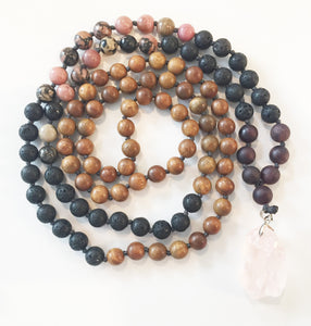 8mm Green Sandalwood & Rhodonite 108 Knotted Mala Necklace with Crystal Pendant